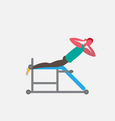 sportsman lying bench back training simulator vector image