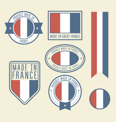 stickers tags and labels with france flag - badges vector image