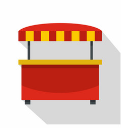 store kiosk with red and yellow awning icon vector image