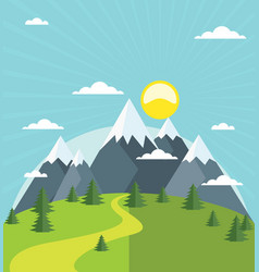 Summer mountain with snow-covered peaks vector