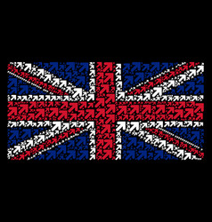 Uk flag mosaic of arrow up right icons vector