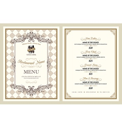 Vintage style restaurant menu design vector image