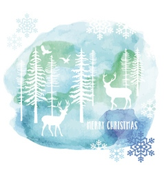 Watercolor Christmas card vector image