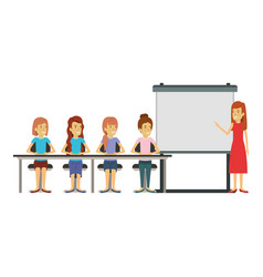 White background with women group sitting in a vector