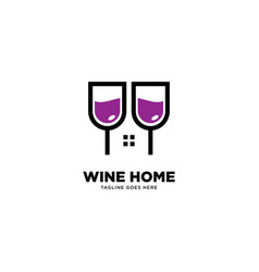 Wine home logo template vector