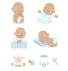 baby boy with toys vector image vector image