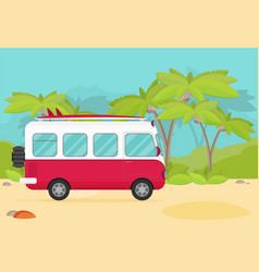 Caravan trailer in jungle flat style vector