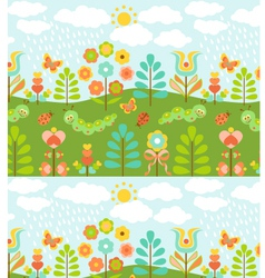 Floral background with cute ladybirds vector image