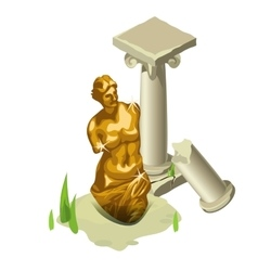 Greek gold statue and ruined column vector image