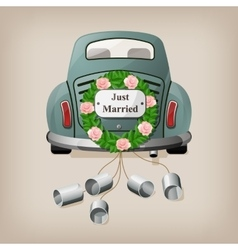 Just married on car Wedding car vector image