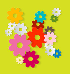 Paper Cut Flowers Colorful Paper Flower Set on vector image