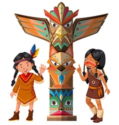 Two Red indians and totem pole vector image vector image