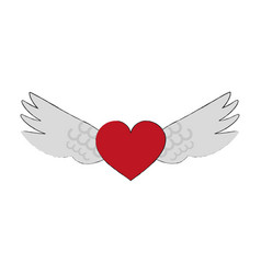 angels wings with heart vector image vector image