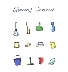 cleaning services doodle icon set vector image vector image