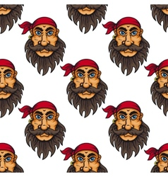 Seamless pattern of a bearded pirate or sailor vector image