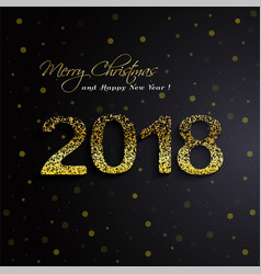 shining gold 2018 happy new year on black vector image