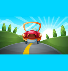 travel cartoon road landscape vector image