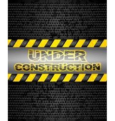 under construction black metallic background vector image vector image