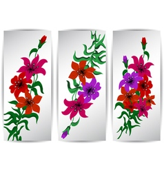 Banners with colorful flowers vector image