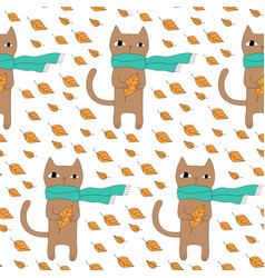 cartoon cat seamless pattern vector image