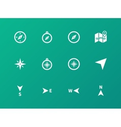 Compass icons on green background vector image vector image