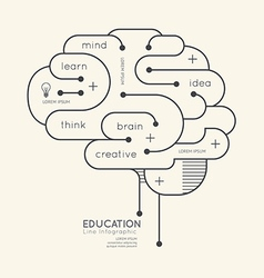 Flat linear Infographic Education Outline Brain vector image vector image