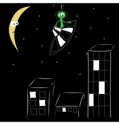 Night city and alien on spaceship over him vector image