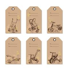 set vintage baby transport gift card Hand drawn vector image vector image
