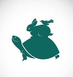 Turtles rabbits birds vector image vector image