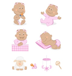 baby girl with toys vector image vector image