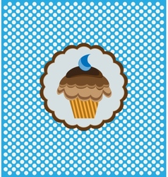 background with delicious cupcake vector image