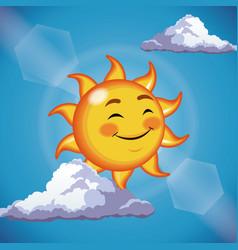character sun cute face close eyes - cartoon in vector image vector image