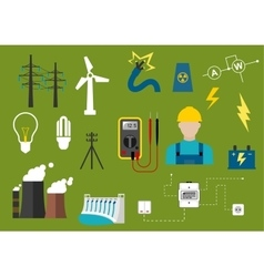Electricity and engineering flat icons vector image vector image