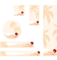 palm trees and woman banner vector image vector image