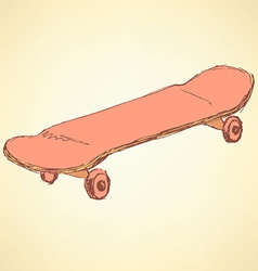 Sketch skate board in vintage style vector image