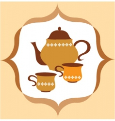 tea pot set vector image vector image