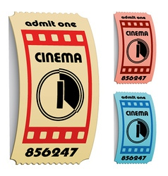 3d curled cinema tickets vector