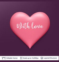 3d heart shape with shadows and highlights vector
