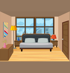 A bedroom in the high apartment vector