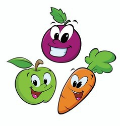 Apple Grape Carrot vector image