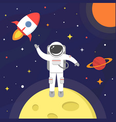 astronaut in outer space spaceman isolated on vector image