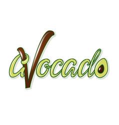 Avocado calligraphy with fruit modern handwritten vector
