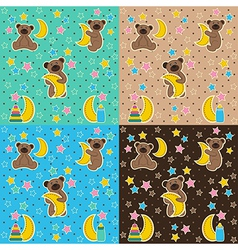 baby texture with bear moon star vector image