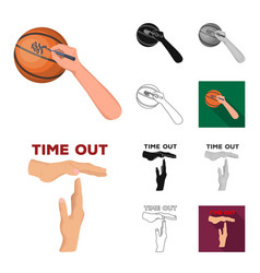 Basketball and attributes cartoonblackflat vector