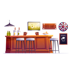 beer bar stuff pub desk with bottles and cups vector image