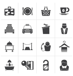 Black Hotel and motel services icons vector image