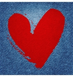 Blue jean texture background with red heart vector