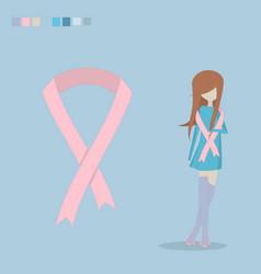 breast cancer ribbon flat vector image