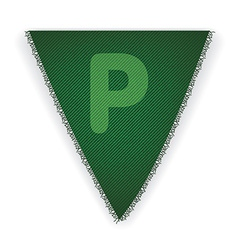 Bunting flag letter P vector