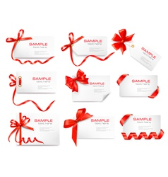 Cards with red gift bows vector